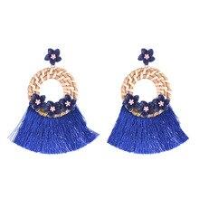 Trendy Tassels Earrings Bohemian for Women Statement Jewelry Acrylic Flower Handmade Dangle Earings Aretes