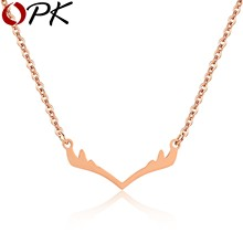 2019 Fashion Elk Deer Antlers Pendant Necklace Christmas Jewelery Gifts Women Girls Cute Pendant Tiny Necklace(China)