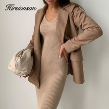 Hirsionsan Elegant Autumn Winter Dresses Women Elastic Bottoming Khaki Long Sweater V Neck Straight Knitted Pullovers with Belt