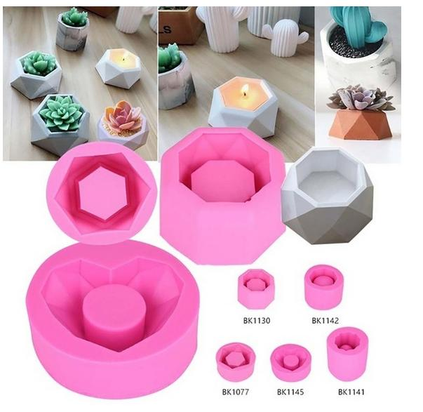 5 Types Concrete <font><b>Flower</b></font> Pot <font><b>Molds</b></font> Flowerpot Making DIY Cement <font><b>Vase</b></font> Silicone Planter <font><b>Mold</b></font> for Succulent Plants Cactus Planting image