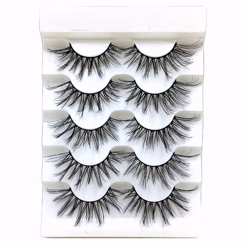 NEW 5 pairs Mink Eyelashes 3D False lashes Thick Crisscross Makeup Eyelash Extension Natural Volume Soft Fake Eye Lashes 3