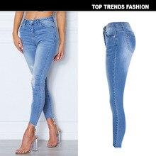 купить high waisted denim jeans Women Skinny distressed Pencil Jeans Slim Hole Ripped Denim Pants Female Sexy Trousers jean mujer онлайн