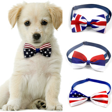 Flag Collar Grooming Dog Necklace Pets-Accessories Cat Adjustable Bow-Tie National 1/2pcs