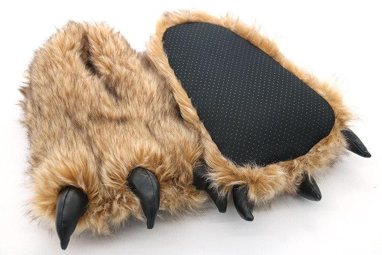 H04a19181c9654047bfc2662ab2d0caeaZ Pantufa Garra de Urso de Algodão Chinelos Quentes Interior de Inverno das mulheres das Mulheres De Pele Escorregas Senhoras Bonito Animal De Pelúcia Sapatos Femininos De Pele flip Flops