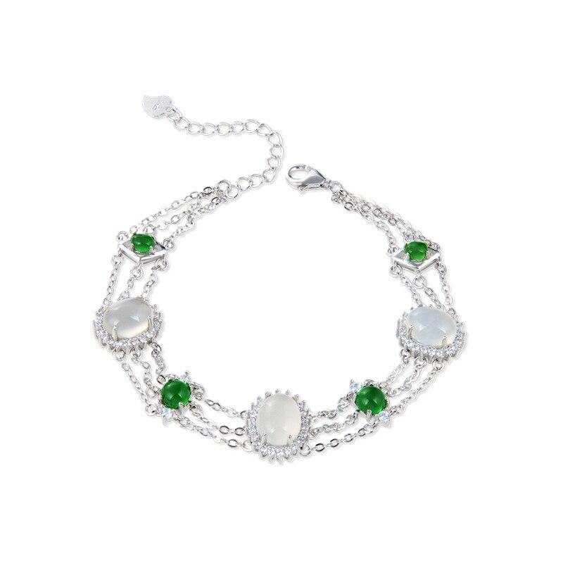 YJBS003459 nouveaux bijoux de mode filles main ornements Antique cristal S925 Bracelet en argent Sterling