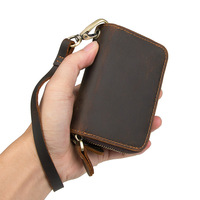 Genuine Leather Housekeeper Key Wallet Man Ring Case Holder Smart Organizer Bag Coin Pocket Keychain Pouch Purse Wrap for Men