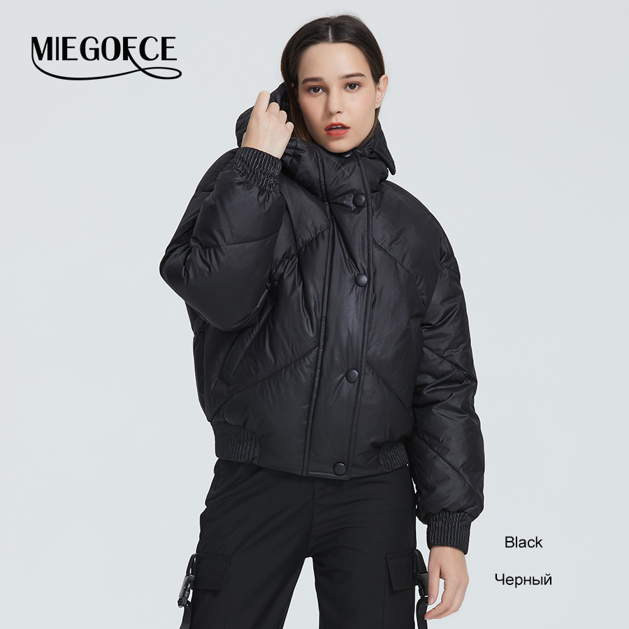 MIEGOFCE 2020 New Design Winter Coat Women's Jacket Insulated Cut Waist Length With Pockets Casual Parka Stand Collar Hooded 10
