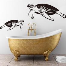Cartoon Turtles Bath Screen Wall Decal Bathroom Washroom Under Sea Ocean Animal Sticker Kids Room Vinyl Decor LW285