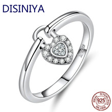 DISINIYA Lock of Heart Finger Rings for Women Wedding Statement Silver 925 Jewelry Promise Ring Gifts Accessories Female SCR589(China)
