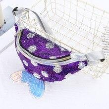 Сумка Женская поясная сумка с пайетками в горошек из искусственной кожи, Детская сумка на одно плечо с рыбьим хвостом, поясная сумка, маленький кошелек, чехол для телефона с ремнем