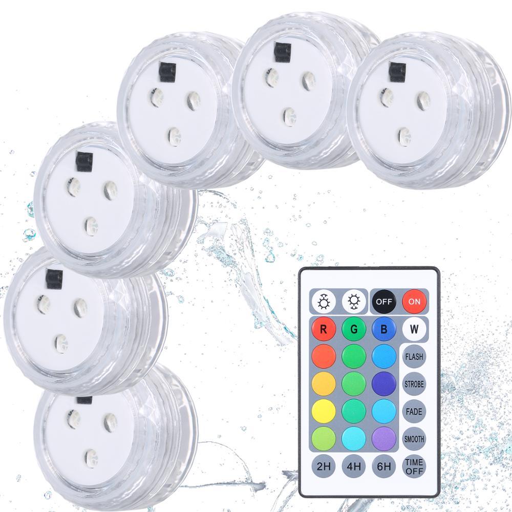 Confezione da 10 luci sommergibili a LED luci subacquee a batteria telecomando luci da piscina per matrimoni da vaso