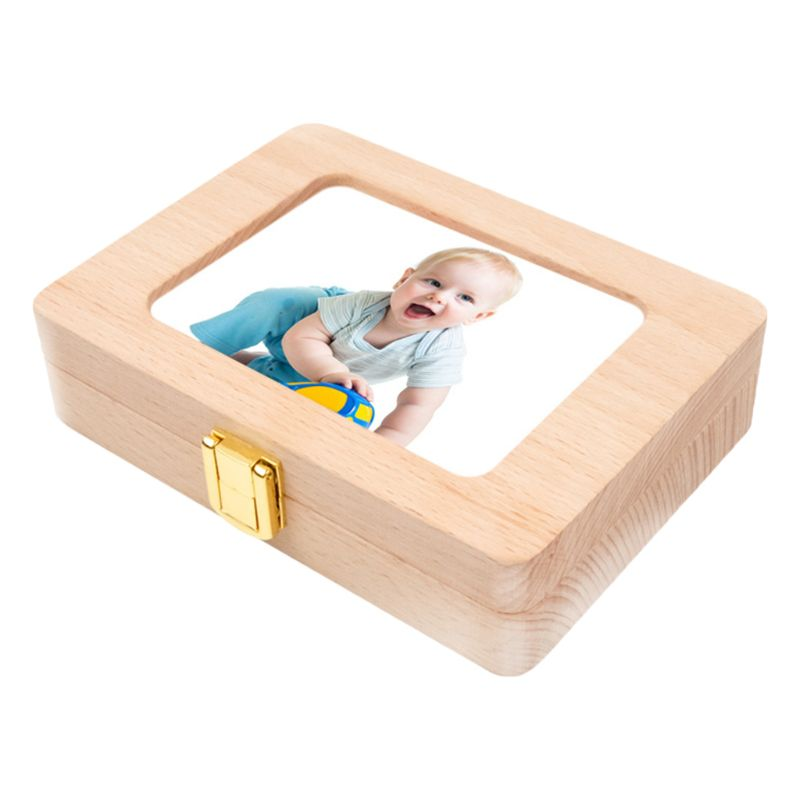Wooden Photo Frame Fetal Hair Deciduous Tooth Box Newborn Baby Souvenirs Gift 24BE