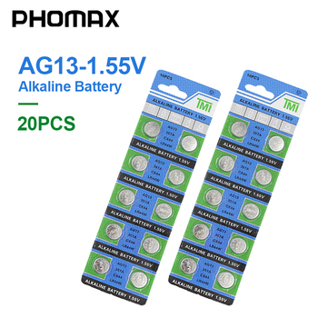 PHOMAX AG13 20pcs/ pack Electronic equipment button battery LR44 SR44 SR47 SG13 AG 13 1.55V watch laser pen PDA alkaline battery phomax 50pcs pack 27a 12v electric toy calculator battery disposable battery a27bp k27a v27ga vr27 ms27 alkaline dry bateria