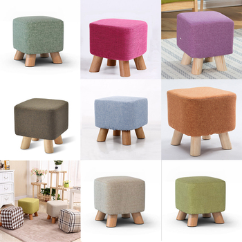Linen Cotton Ottoman Cover Square Stool Covers Slipcover for Footstool Decor Bar Home Kitchen Hotel Office Wedding Celebration image