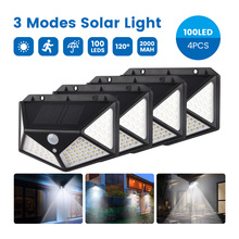 SUNYIMA 4 Pcs Solar Wall Lamp PIR Motion Sensor 100LED Solar Power Light Waterproof Solar Lamp for Yard Garland Light Decoration