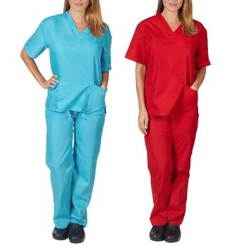 Kobiety mężczyźni z krótkim rękawem dekolt w serek + spodnie ubrania robocze pielęgniarskie zestaw garnitur szpital lekarz odzież ogólna odzież dla kobiet tanie i dobre opinie REGULAR V-neck Elastyczny pas Poliester WOMEN Swetry Na co dzień NONE tops pants Pełnej długości Stałe