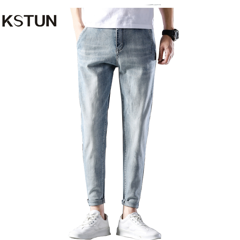 KSTUN Jeans For Men Light Blue SKinny Elasticity 2020 Summer Denim Pants Casual Male Trousers Men's Clothing Famous Brand Jeans