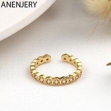 ANENJERY 925 srebro sześciokątne połączone cyrkonie pierścień dla kobiet elegancja prostota otwarty pierścień biżuteria prezent S-R1031
