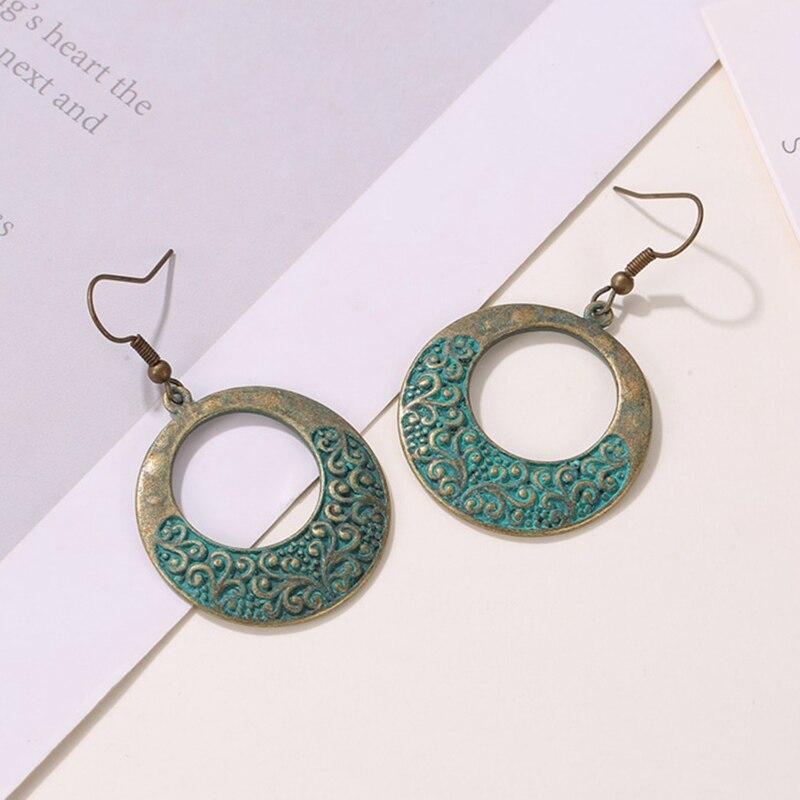 Retro Ethnic Earrings Women Ancient Bronze Round Pattern Earrings Classical Women