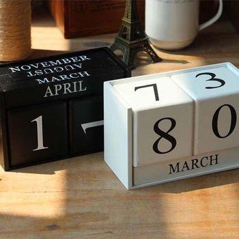 Business Accessories & Gadgets Office Calendar & Planner Vintage Wooden Perpetual Calendar