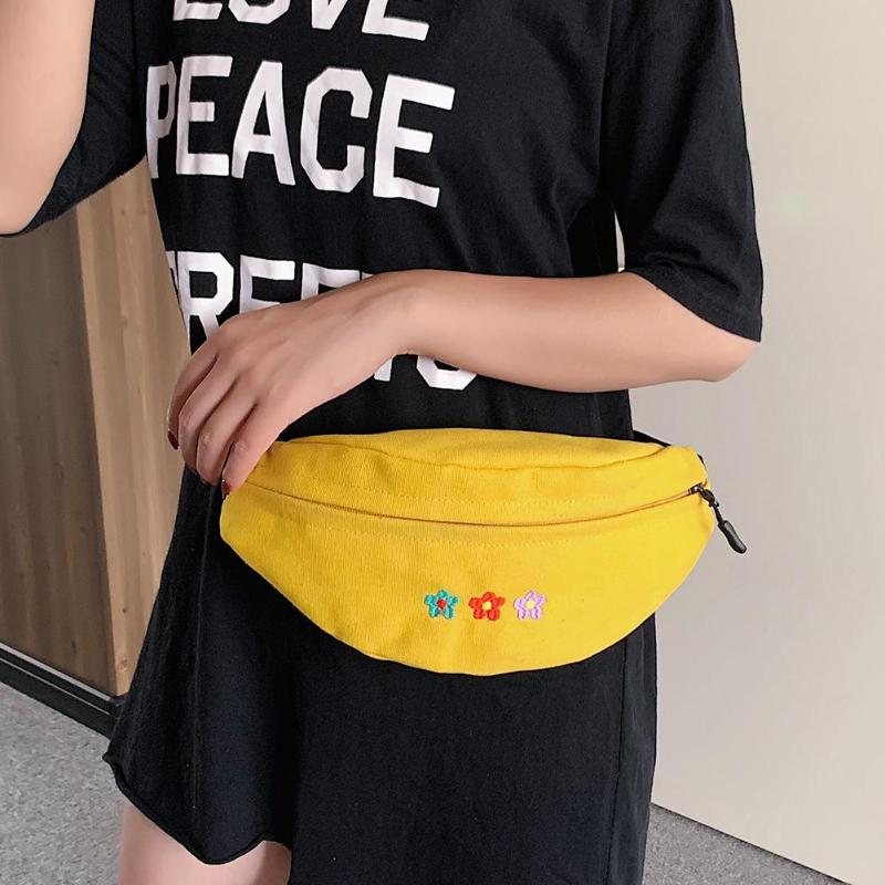 Fashion Ladies Crossbody Chest Bags Canvas Handbags Women Flower Decoration Waist Fanny Packs Phone Money Pouch