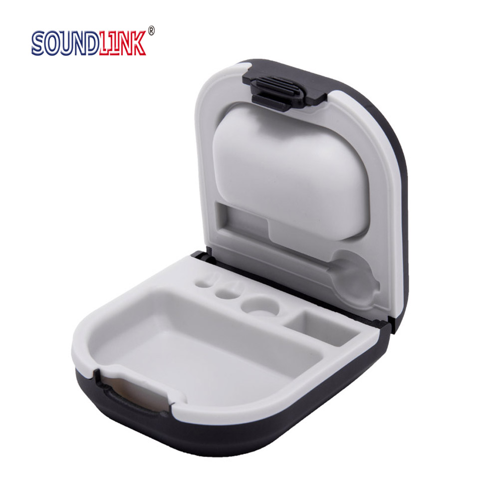 Hearing Aid Case Hard Storage Box With Battery Holder And Cleaning Brush Slot