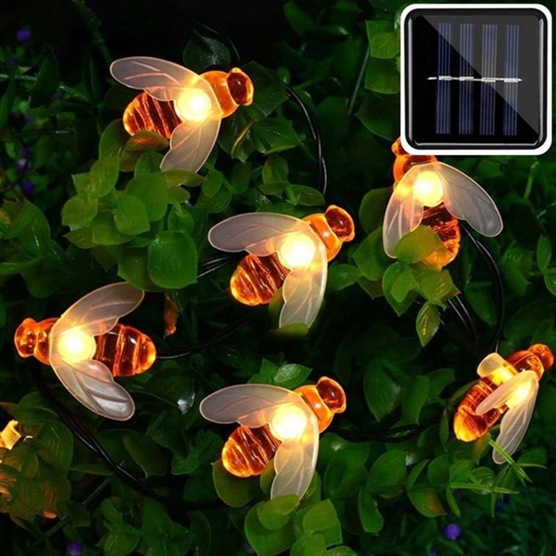 New Solar Powered Cute Honey Bee Led String Fairy Light 20leds 50leds Bee Outdoor Garden Fence Patio Christmas Garland Lights