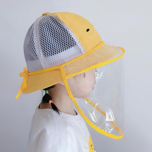Baby Bucket Hat Protective Full Face Shield Cover Kids Hats Anti Saliva Dustproof Dual-use Sun Hat Cap With Clear Facial Mask 5