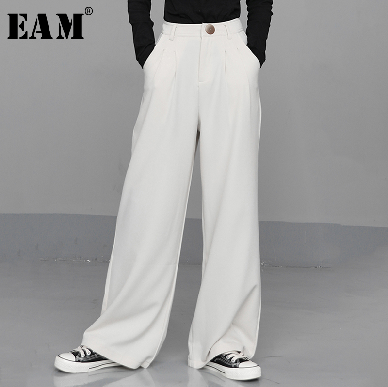 [EAM] High Waist White Leisure Pleated Long Wide Leg Trousers New Loose Fit Pants Women Fashion Tide Spring Autumn 2020 1N672
