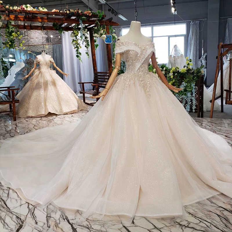HTL605 חתונת שמלות כדור שמלת חתונה ואירועים כבוי כתף מתוקה כלה בציר שמלת כלה 2019 porte nom mariage