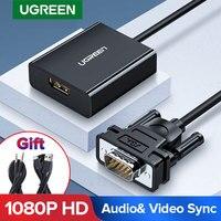 Ugreen VGA a HDMI adaptador 1080P VGA macho a HDMI hembra Convertidor para portátil Monitor HDTV de Audio y Video Cable HDMI a VGA