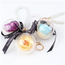 1pc Creative Natural Preserve Flower Keychain Rose Acrylic Round Ball Pedant Hanging Pearl Keychain Valentine's Day Wedding Gift