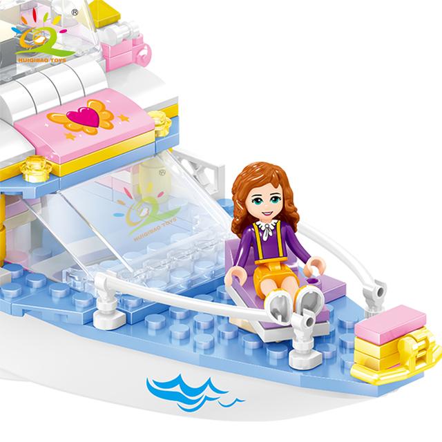 HUIQIBAO 349pcs Friendship Girls Luxury yacht Building Blocks Friend For Girl boat figures Bricks Toy Children