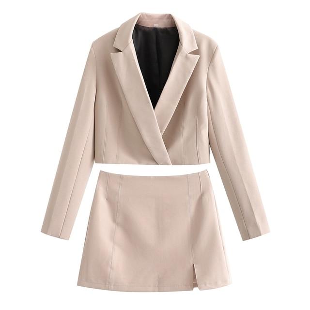 Spring New Women's Solid Short Suit Coat Solid Lapel Concealed Button Design Slim Split Mini Skirt Solid Color Suit 4