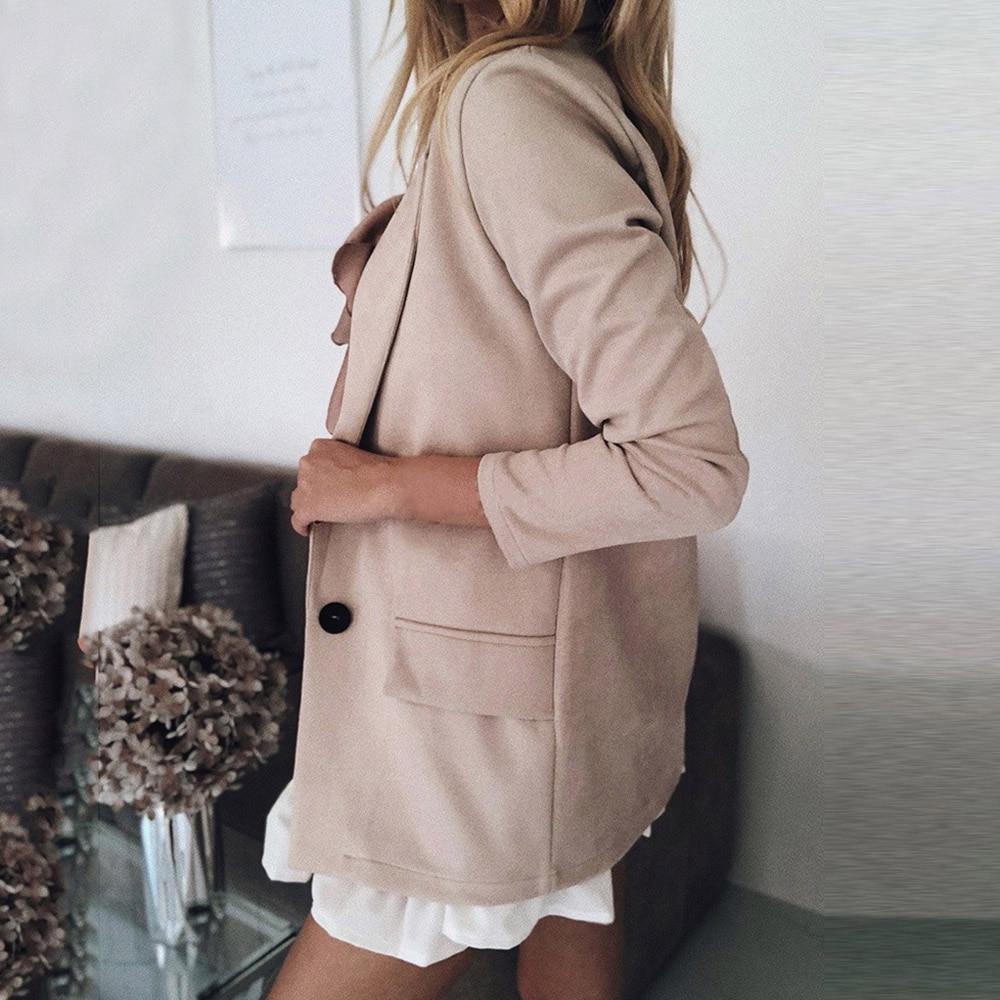 OEAK Casual Blazer Women Basic Notched Collar Solid Blazer Pockets Chic Tops Office Ladies Button Suit Jackets Plus Size