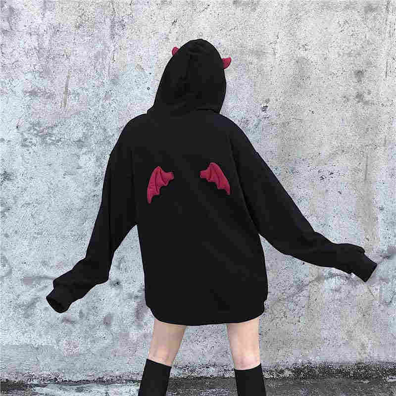 NiceMix Herbst Frühling Frauen Sweatshirts High Street Harajuku Nette Hoodies Punk Gothic Teufel Horn Chic Mit Kapuze Pullover Lose Schweiß