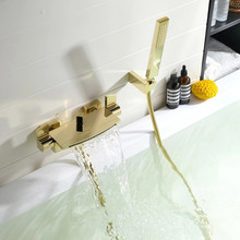 цена на Bathroom Bathtub Faucets Gold Brass With Handheld Shower Hot & Cold Waterfall Wall Mounted Dual Handle Bath Shower Faucets Set