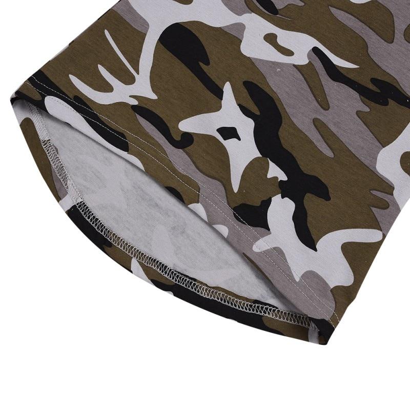Impressão 1 6T O pescoço de Algodão Padrão de Camuflagem Impressão T shirt Sem Mangas Colete Vestido de Verão Casuais Meninas Do Bebê Crianças Criança vestido de verão - 5