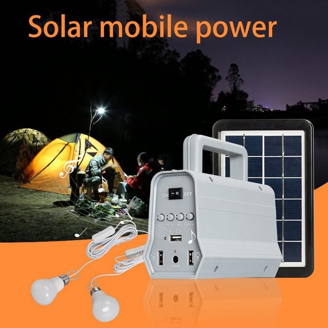Power Panel LED Solar Generator Kit Bluetooth Speaker USB Charger Home System + 2 LED Bulbs Outdoor Lighting Smartphone Charging 3