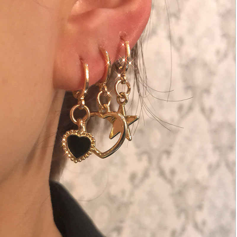 Flatfootsie minuscule or couleur boucles d'oreilles goutte pour femmes filles coeur croix étoile lune yeux Vintage perle cristal balancent boucle d'oreille bijoux