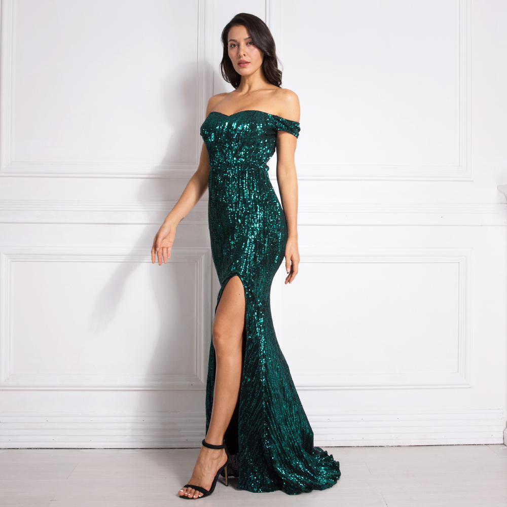 Image 2 - Silver Stretchy Sequined Maxi Dress Split Front Off the Shoulder Bodycon Floor Length Dress Elegant Mermaid Dress Green Gold-in Dresses from Women's Clothing
