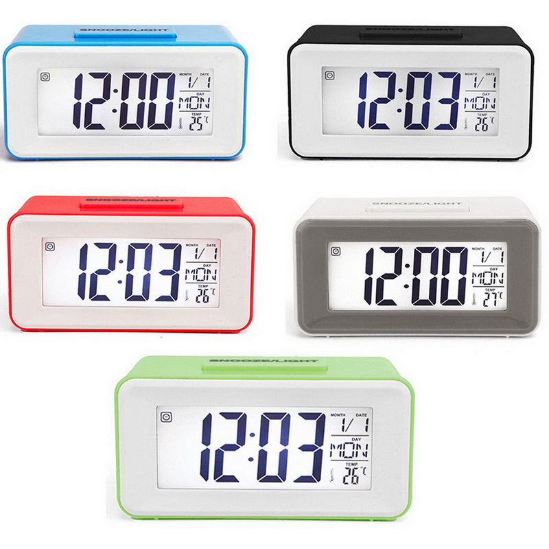 Desk Digital Alarm Clock Time Snooze Temperature Date Humidity Display Night Light Perpetual Calendar Backlight For Kids Student
