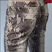 2019 Fashion Men Slim Faux Python Snake Print Leather Pants Men's Personality PU Leather Trousers Chandal Male High Quality