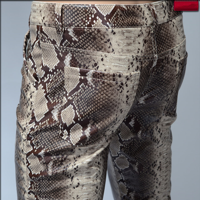 2020 Fashion Men Slim Faux Python Snake Print Leather Pants Mens Personality PU Leather Trousers Chandal Male High Quality