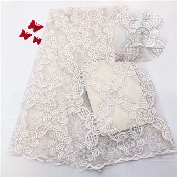 Excellent flower embroidery French net lace fabric fashion tulle cloth with sequins for lady dress PDN536(5yards/lot)