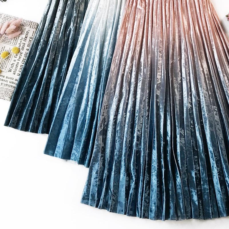 Gradient Velvet Pleated Skirt 6