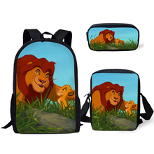 HaoYun Fashion Primary Students School Backpack Set The Lion King Pattern Kids Book Bags Cartoon Designer 3PCs/SET