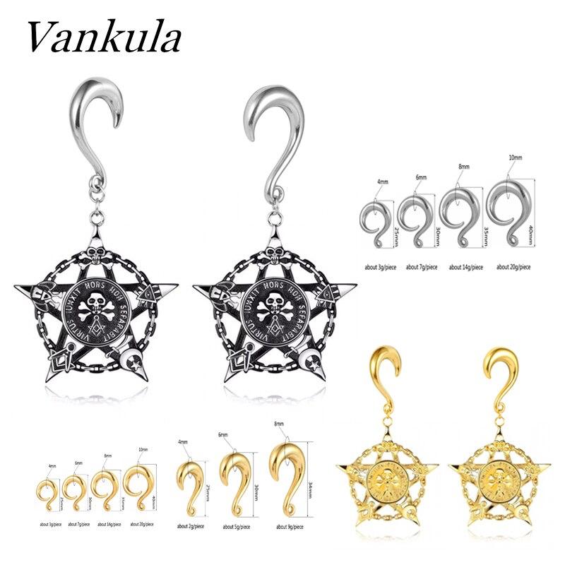 Vankula 2PCS Plugs Ear Tunnels 316L Stainless Steel Hooks Gauges Ear Weights Ear Piercing Body Jewelry For Man Woman Expanders