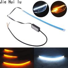 Car Styling 30cm 45cm 60cm DRL Flexible LED Tube Style Turn Signal Lamps Daytime Running Lights Tear Strip Headlight