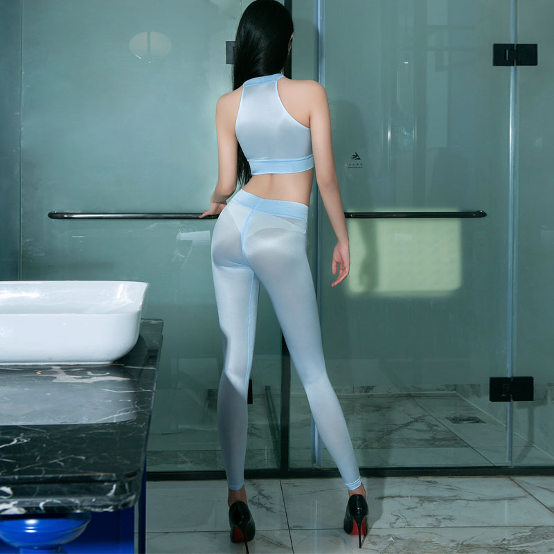 Sexy Shiny Zipper Open Crotch Pencil Pants Hollow Out Leggings Sexy Hips Capris Sheer See Through Sexy Leggings Candy Color F20